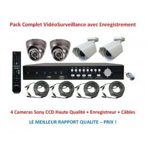 Kit Vidéo Surveillance 4 Cameras Infrarouges + Enregistreur