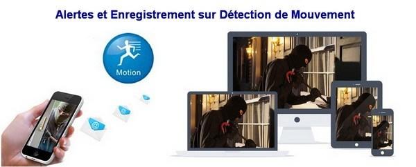 Alertes enregistrement sur détection mouvement