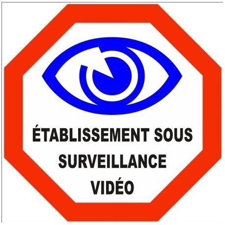 Autocollant Sticker VidéoSurveillance Etablissement