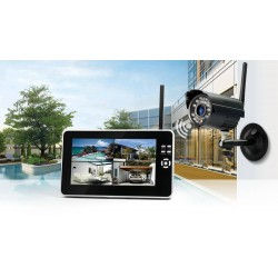 Kit Caméra de Surveillance Sans Fil avec Enregistrement + Moniteur