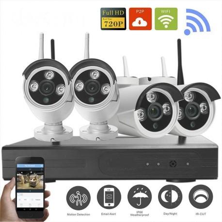 Kit WiFi 4 Caméras IP Extérieures + Enregistreur HD