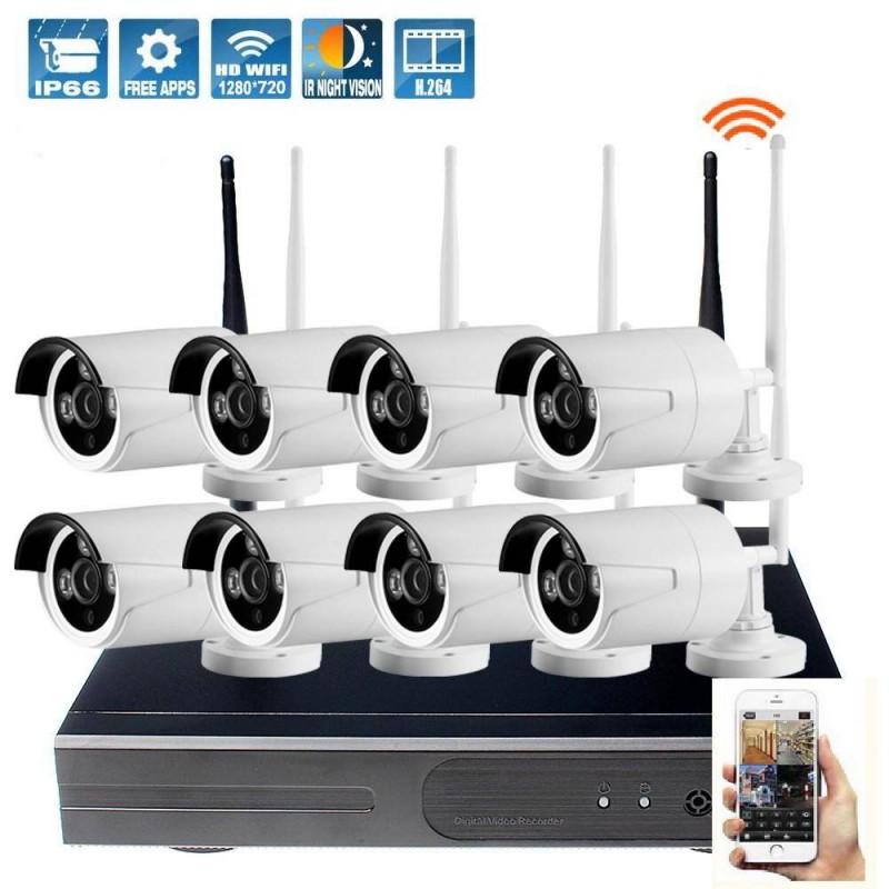 kit de surveillance ext rieur avec 8 cam ras wifi et l. Black Bedroom Furniture Sets. Home Design Ideas
