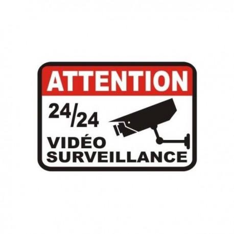 Autocollant Attention Vidéo Surveillance 24/24