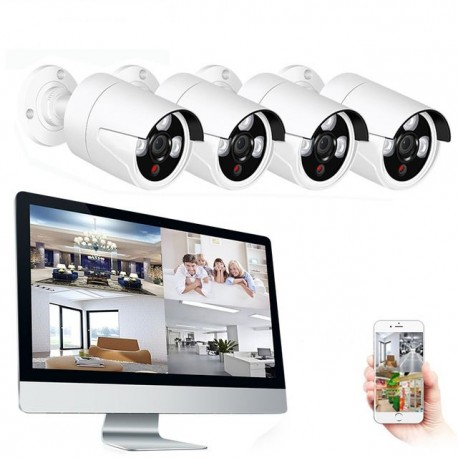Kit NVR Vidéosurveillance avec 4 caméras et Ecran 15 pouces