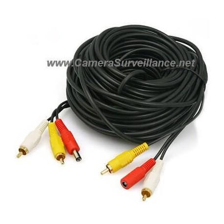 Câble RCA Video + Audio + Alimentation 10 mètres 3 en 1