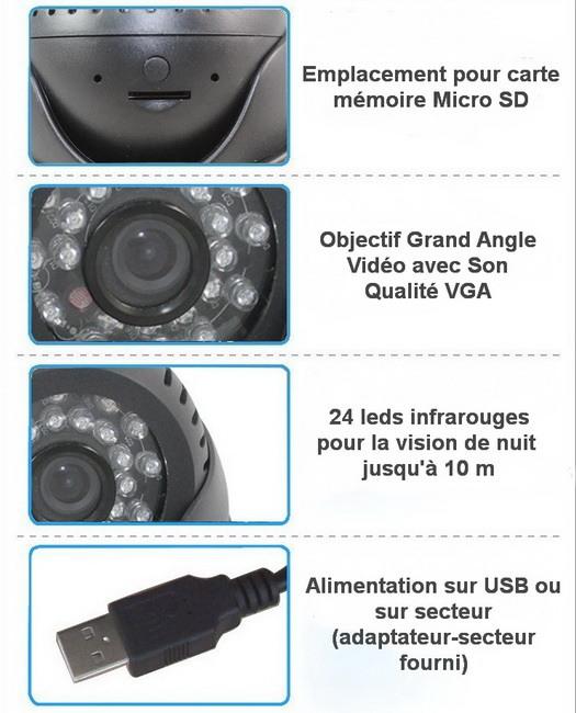 Caméra dôme enregistrement fonctions