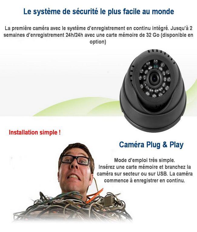 Caméra dôme avec enregistrement carte mémoire