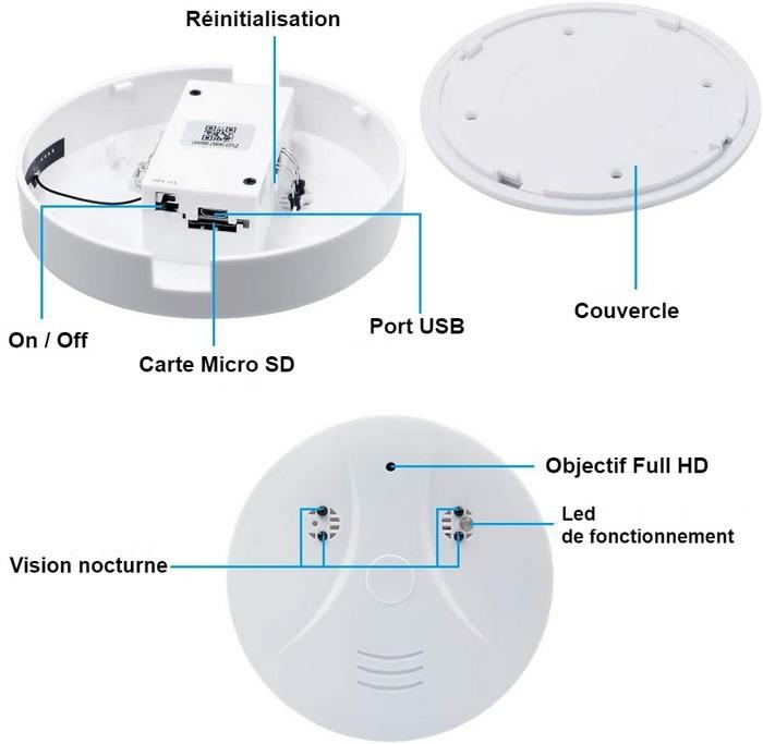 Caméra détecteur de fumée - boutons de fonctionnement