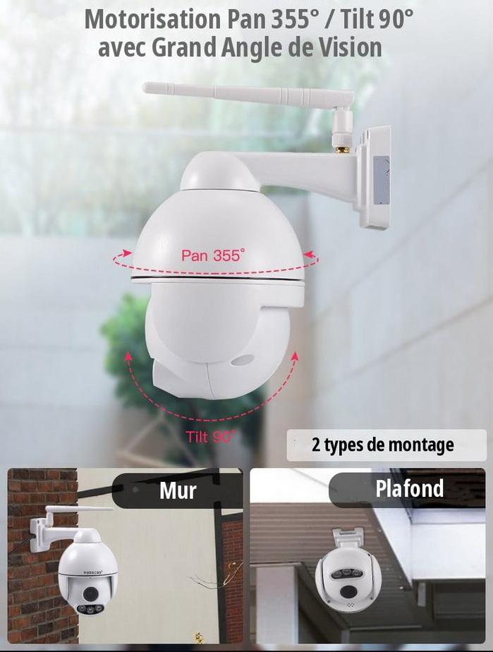 Caméra Motorisée WiFi Types de fixation