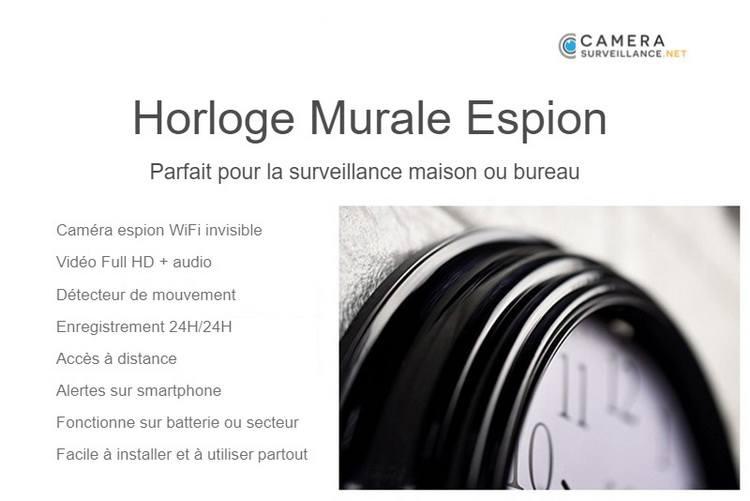 Horloge murale espion WiFi