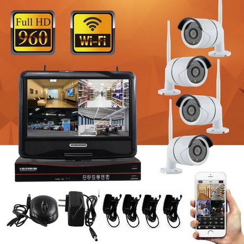 kit vid osurveillance ip wifi avec 4 cam ra enregistreur ecran. Black Bedroom Furniture Sets. Home Design Ideas