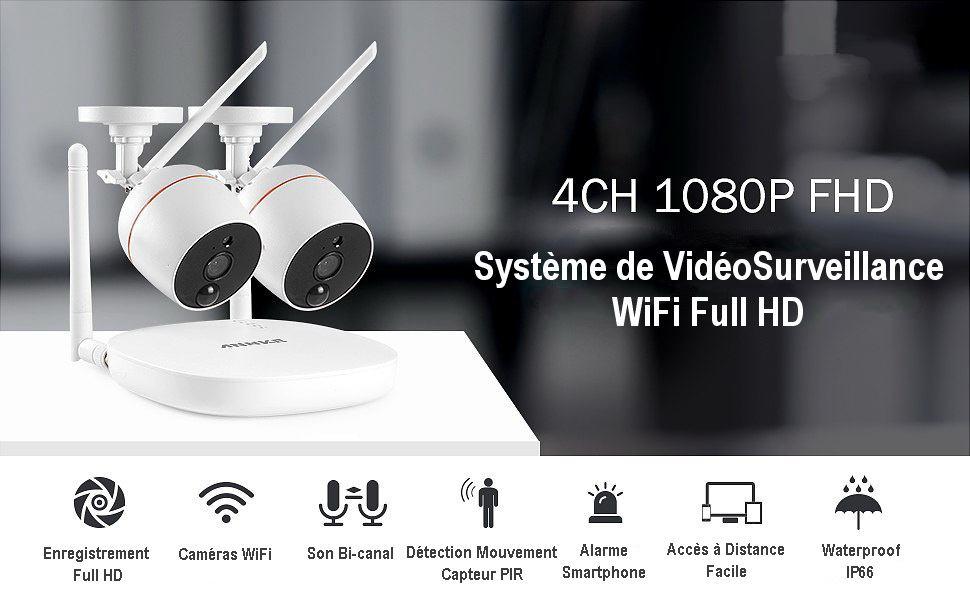 Kit NVR WiFi avec 2 caméras extérieures