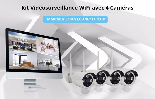 Kit vidéosurveillance WiFi NVR avec moniteur écran LCD