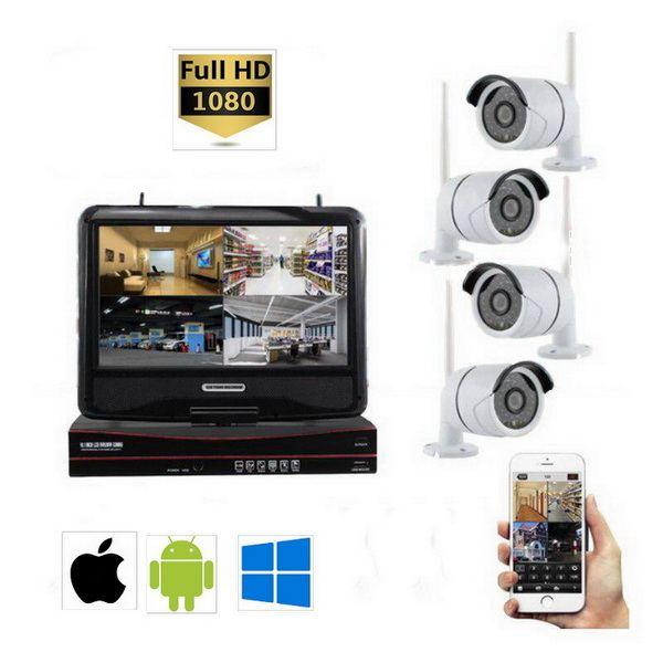 Kit WiFi NVR 4 caméras + Ecran LCD