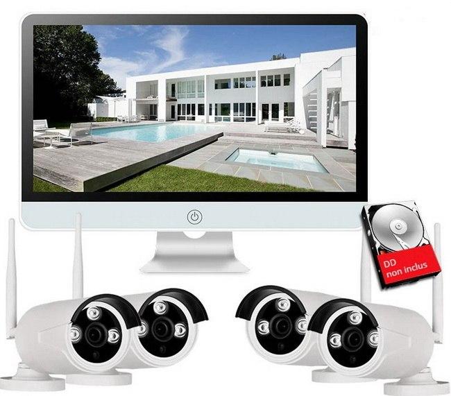 Kit WiFi NVR complet 4 caméras + écran moniteur